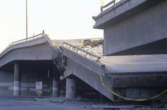 在高速公路10崩溃的天桥 免版税库存照片