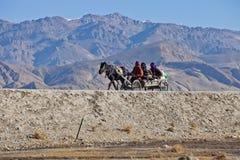 在高速公路G318曲下镇,日喀则,西藏的一个马推车 免版税库存照片