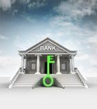 在高银行前面的绿色钥匙经典样式的 库存照片