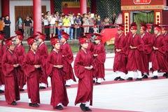 在高雄孔子寺庙的孔子仪式 库存照片