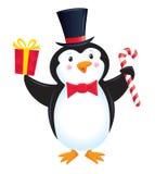 在高顶丝质礼帽和蝶形领结的企鹅 库存照片