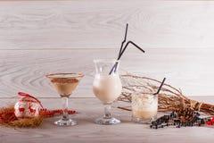 在高玻璃的冬天奶昔用巧克力和椰子 库存照片