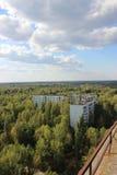 在鬼城Pripyat, Chornobyl区域的看法 免版税库存图片