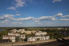 在鬼城Pripyat, Chornobyl区域的看法 免版税图库摄影