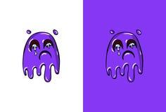 在鬼魂样式的动画片哭泣的面孔 库存例证