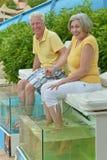 在鱼温泉皮肤治疗的夫妇 库存图片