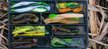 在鱼箱子的渔softbaits 免版税图库摄影