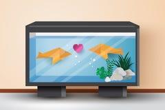 在鱼缸的日本鱼origami Origami钓鱼与 向量例证