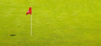 在鲜绿色的草的高尔夫球旗子 免版税库存图片