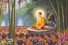 在鲜绿色菩萨墙壁的寺庙,曼谷的Hanuman绘画 免版税库存图片