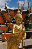 在鲜绿色菩萨寺庙的金黄天使  免版税库存照片