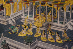 在鲜绿色菩萨寺庙的Ramayana绘画  免版税库存照片