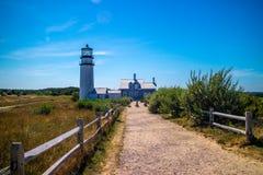 在鳕鱼角全国海滨,马萨诸塞的高地光 免版税图库摄影