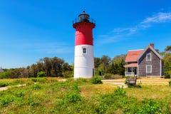 在鳕鱼角,马萨诸塞的Nauset灯塔 库存照片