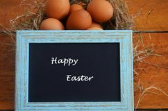 在鸟巢和框架的复活节彩蛋 免版税图库摄影