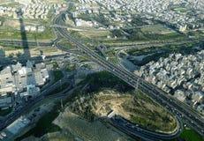 在鸟瞰图的德黑兰街道 免版税库存照片