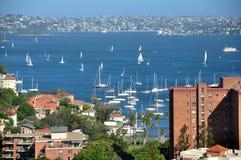 在鸟蛤海湾(悉尼)的小船在新南威尔斯,澳大利亚 免版税库存图片
