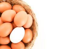 在鸡中的鸭子鸡蛋在一个木篮子-接近怂恿 库存照片