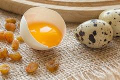 在鸡鸡蛋的壳的卵黄质 免版税库存图片