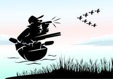 在鸭子的猎人 免版税图库摄影