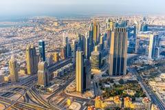 在鸭子,阿拉伯联合酋长国的迪拜地平线 免版税库存照片