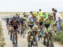 在鹅卵石的战斗-环法自行车赛2015年 免版税库存照片