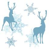 在鹿夜间房子例证新的s之后小的结构树冬天年 图库摄影