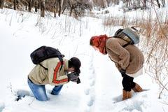 一对年轻夫妇在冬天森林里 免版税库存图片