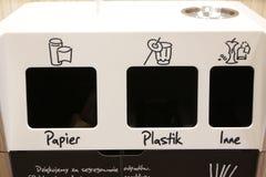 在麦克唐纳` s克拉科夫的垃圾容器 库存照片