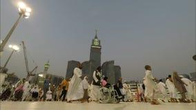 在麦加的早晨tawaf在沙特阿拉伯时间间隔社论 影视素材