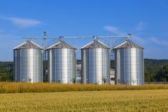 在麦地的四个银色筒仓 免版税库存图片