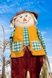 在麦地的稻草人 免版税库存照片
