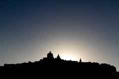 在麦地那,马耳他的日落 免版税库存图片