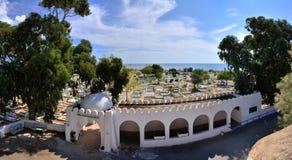 在麦地那, Hammamet,突尼斯,地中海S附近的古老公墓 图库摄影