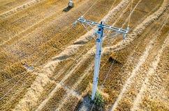 在麦子发茬的输电线 库存图片