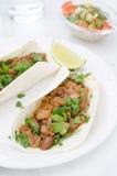 在麦子玉米粉薄烙饼的辣豆汤在板材和辣调味汁 免版税库存照片