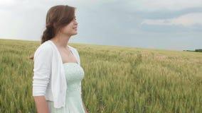 在麦子的高绿色小尖峰的中美丽的少女在领域的 享受夏天,和谐的年轻愉快的妇女人和 股票录像