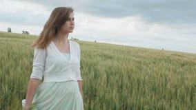 在麦子的高绿色小尖峰的中美丽的年轻俄国女孩在领域的 享受夏天,人的a和谐的年轻女人  股票视频