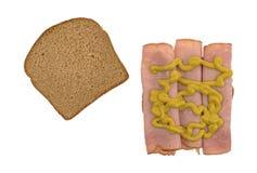 在麦子面包的维吉尼亚火腿三明治用芥末 免版税图库摄影