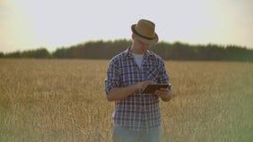 在麦田的年轻男性农夫藏品片剂 影视素材