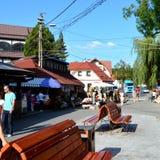 在麸皮城堡,德雷库拉,布拉索夫,特兰西瓦尼亚的家的入口 免版税库存照片