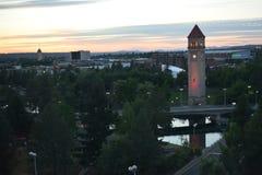 在黄昏的伟大的北尖沙咀钟楼在斯波肯 免版税图库摄影