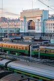 在黄昏的新西伯利亚火车站 俄国 库存图片