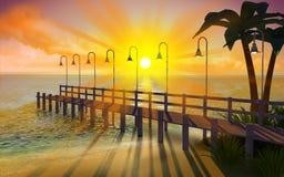 在黄昏的热带码头 图库摄影