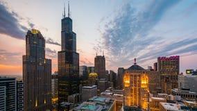 在黄昏的芝加哥,伊利诺伊,美国地平线 影视素材