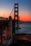 在黄昏的金门桥 免版税库存图片