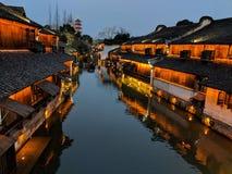 在黄昏的Wuzhen 免版税图库摄影