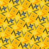 在黄色和橙色的现代凉快的五颜六色的几何重复的样式 库存例证