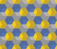 在黄色和蓝色颜色的无缝的几何六角样式 皇族释放例证