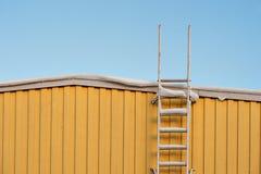 在黄色墙壁上的金属梯子 免版税图库摄影